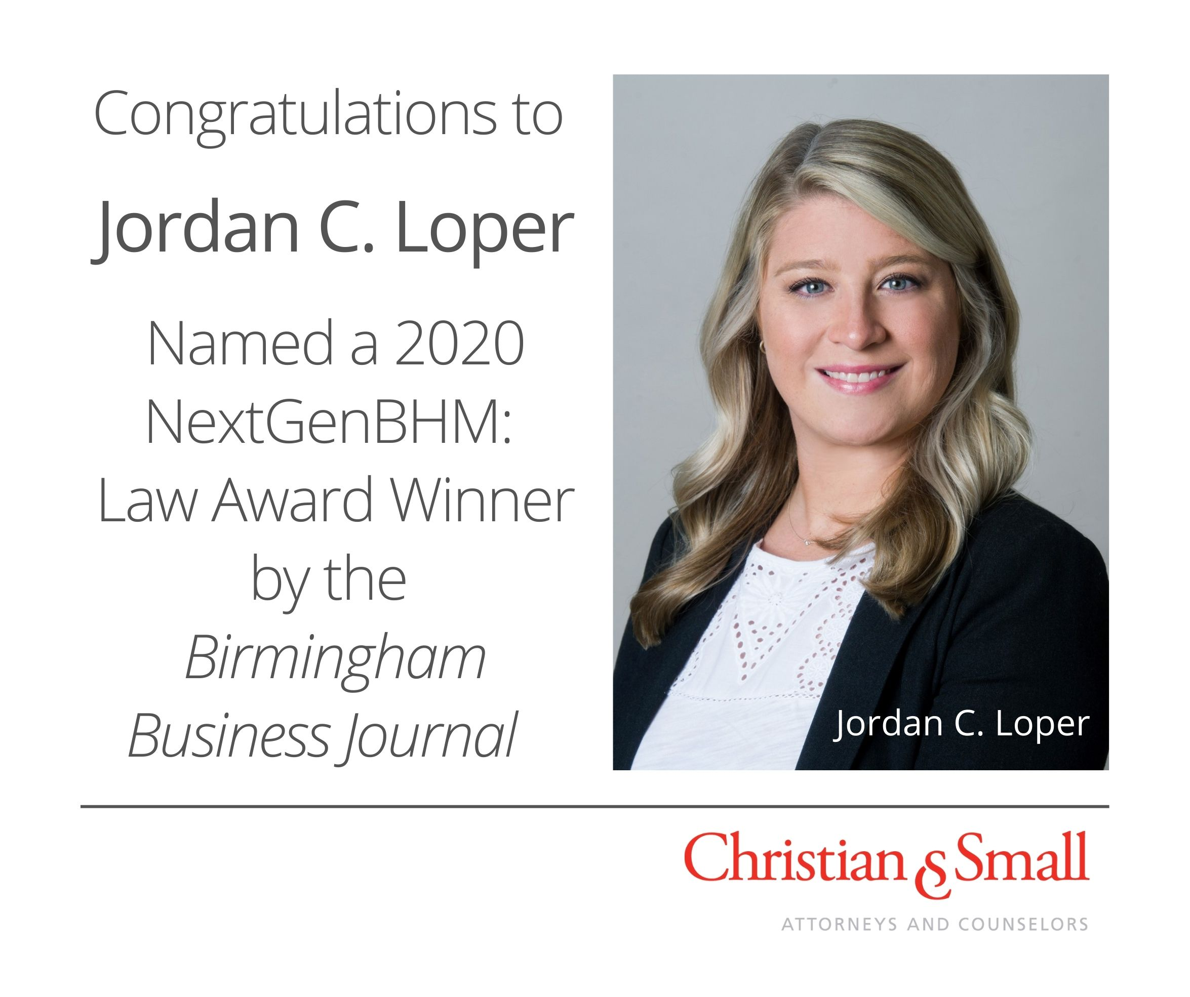 Associate Jordan Loper Recognized by Birmingham Business Journal as a NextGenBHM: Law Award Winner