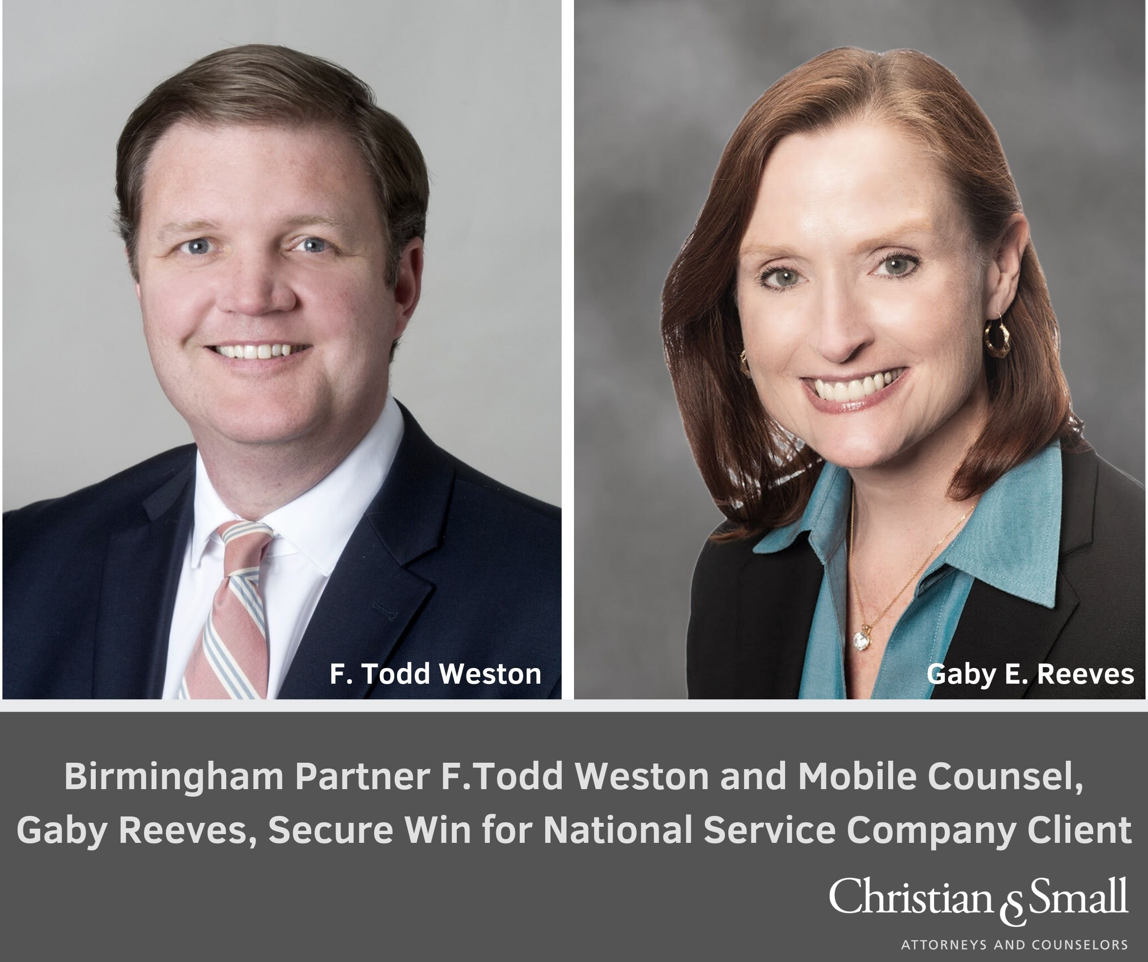 F. Todd Weston and  Gaby Reeves Secure Win for National Service Company Client on Motion to Dismiss in Etowah County, Alabama